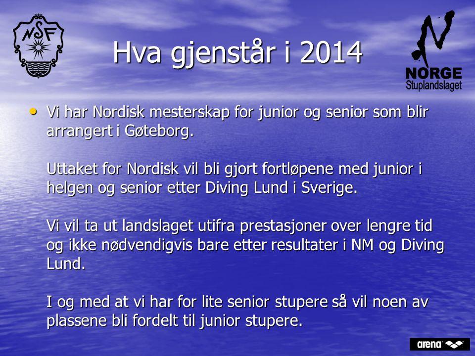 Hva gjenstår i 2014 Vi har Nordisk mesterskap for junior og senior som blir arrangert i Gøteborg. Uttaket for Nordisk vil bli gjort fortløpene med jun