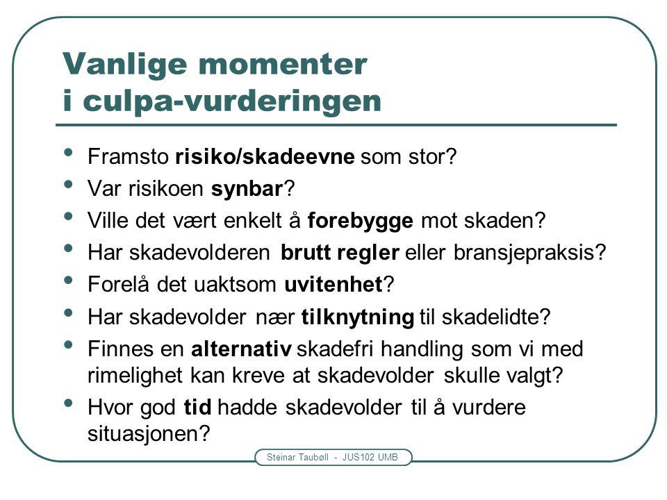 Steinar Taubøll - JUS102 UMB Vanlige momenter i culpa-vurderingen Skadevolders handling vurderes etter forholdene på skadetidspunktet.
