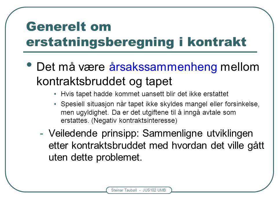 Steinar Taubøll - JUS102 UMB Generelt om erstatningsberegning i kontrakt Tapet erstattes så langt det er påregnelig / adekvat Tap som man med rimelighet kunne ha forutsett som en mulig følge (kjl.