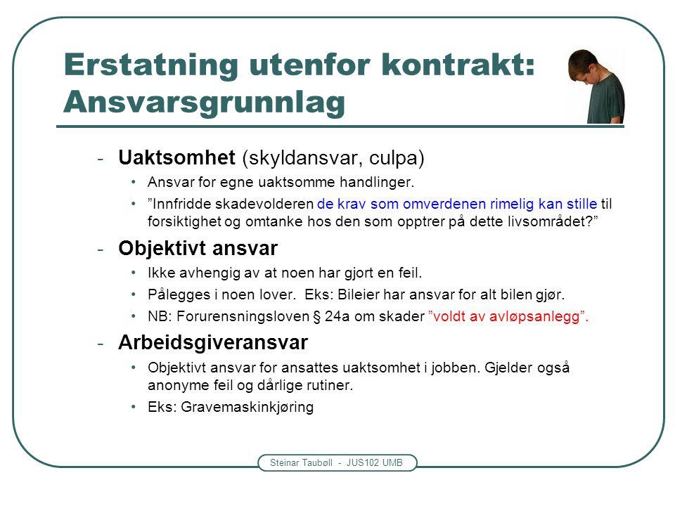 Steinar Taubøll - JUS102 UMB Erstatning Erstatning i kontraktsforhold Angår tap som følge av hvordan kontrakten oppfylles Viktige ansvarsgrunnlag: -Kontrollansvar, skyld, garanti