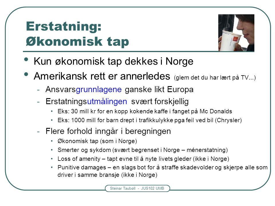 Steinar Taubøll - JUS102 UMB Generelt om erstatning Forholdet til amerikansk rett -Økonomisk tap vs.