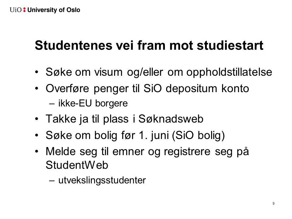 Studentenes vei fram mot studiestart Søke om visum og/eller om oppholdstillatelse Overføre penger til SiO depositum konto –ikke-EU borgere Takke ja ti