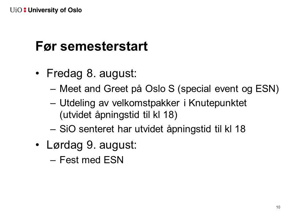 Før semesterstart Fredag 8. august: –Meet and Greet på Oslo S (special event og ESN) –Utdeling av velkomstpakker i Knutepunktet (utvidet åpningstid ti