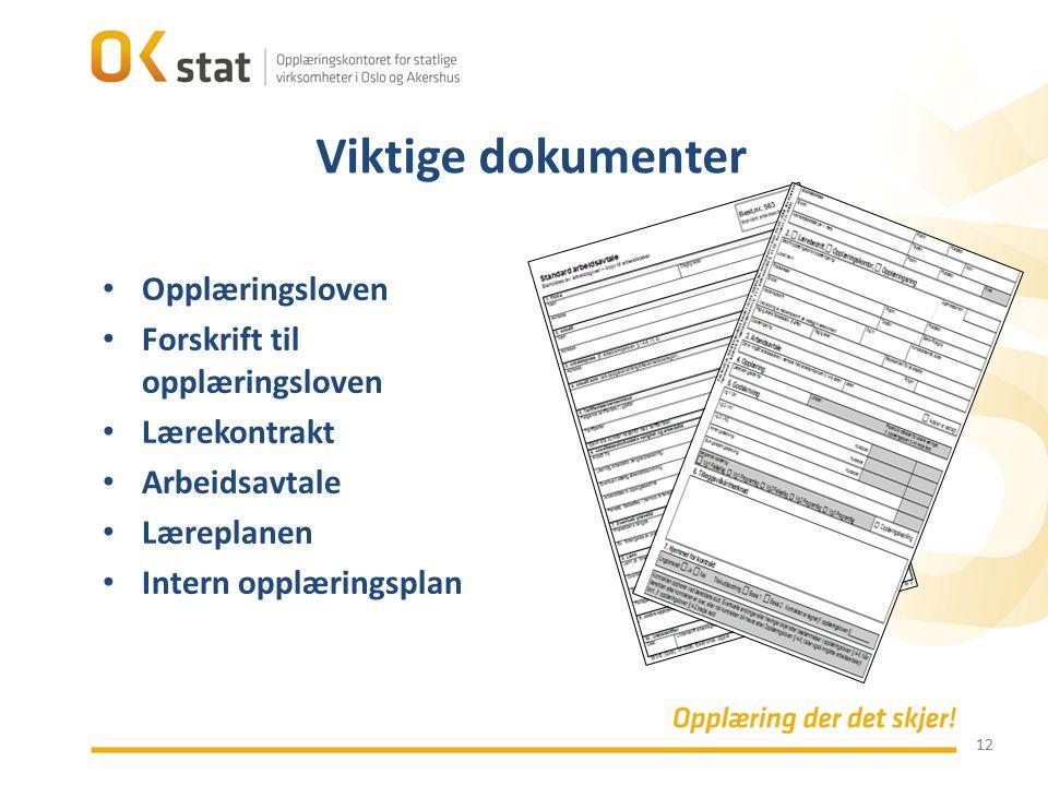 12 Opplæringsloven Forskrift til opplæringsloven Lærekontrakt Arbeidsavtale Læreplanen Intern opplæringsplan Viktige dokumenter