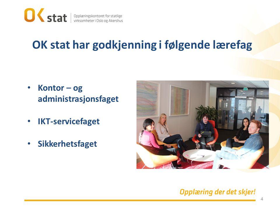 4 Kontor – og administrasjonsfaget IKT-servicefaget Sikkerhetsfaget OK stat har godkjenning i følgende lærefag