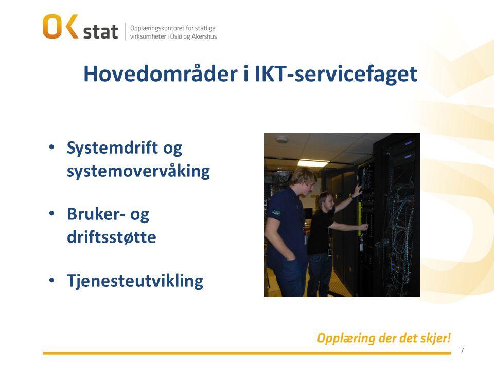 7 Systemdrift og systemovervåking Bruker- og driftsstøtte Tjenesteutvikling Hovedområder i IKT-servicefaget