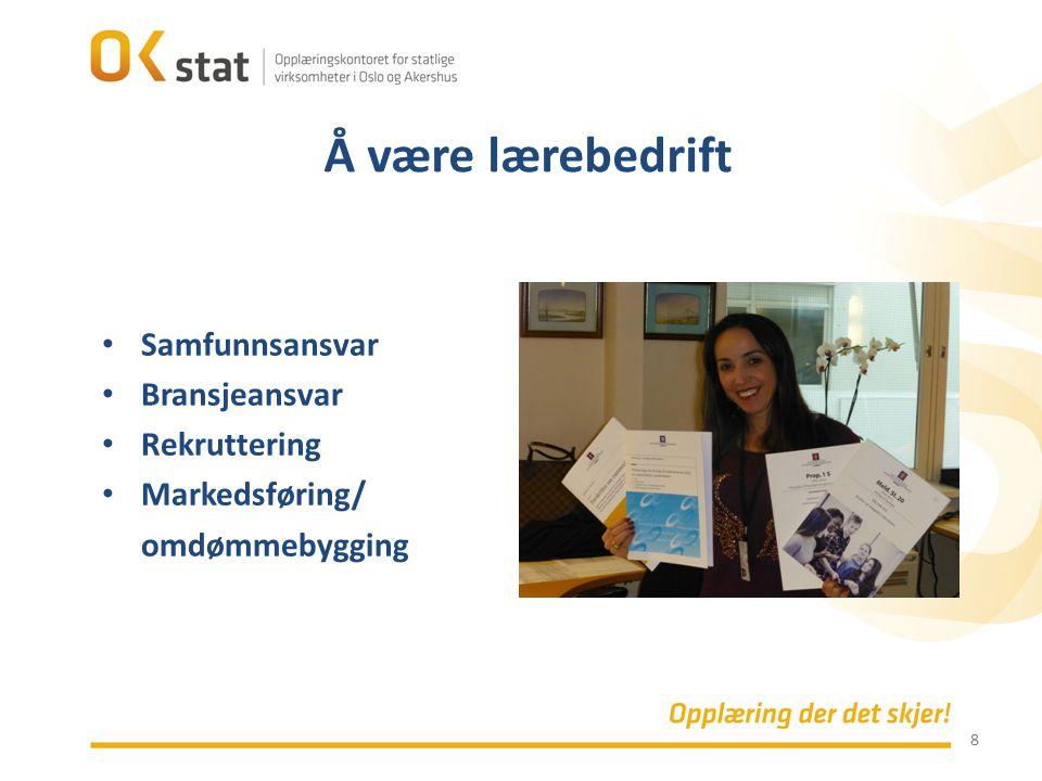 8 Samfunnsansvar Bransjeansvar Rekruttering Markedsføring/ omdømmebygging Å være lærebedrift