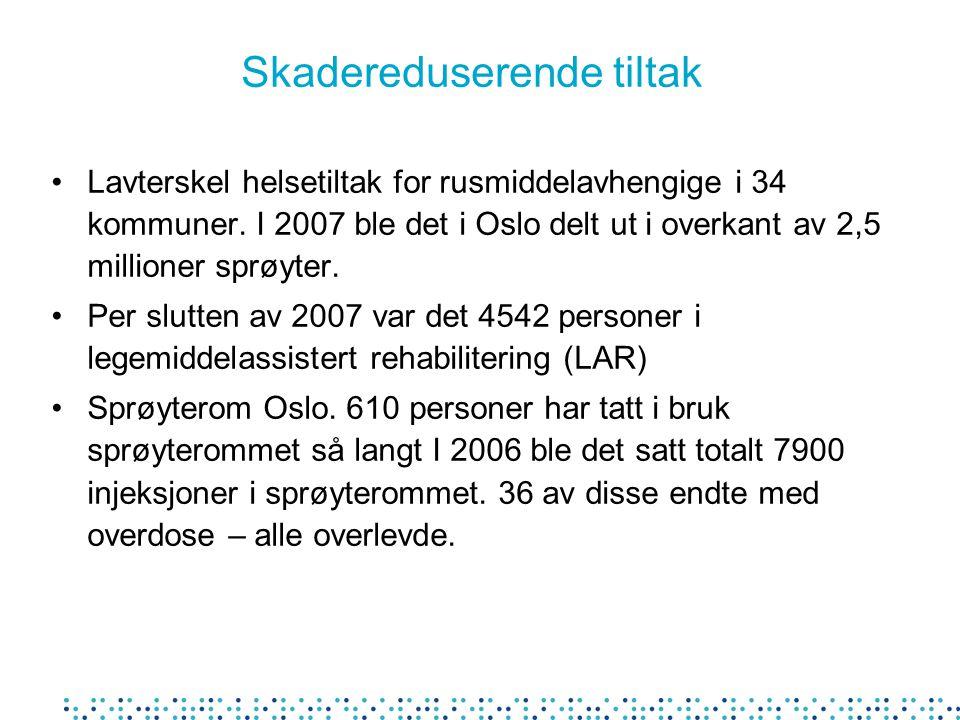 Skadereduserende tiltak Lavterskel helsetiltak for rusmiddelavhengige i 34 kommuner. I 2007 ble det i Oslo delt ut i overkant av 2,5 millioner sprøyte