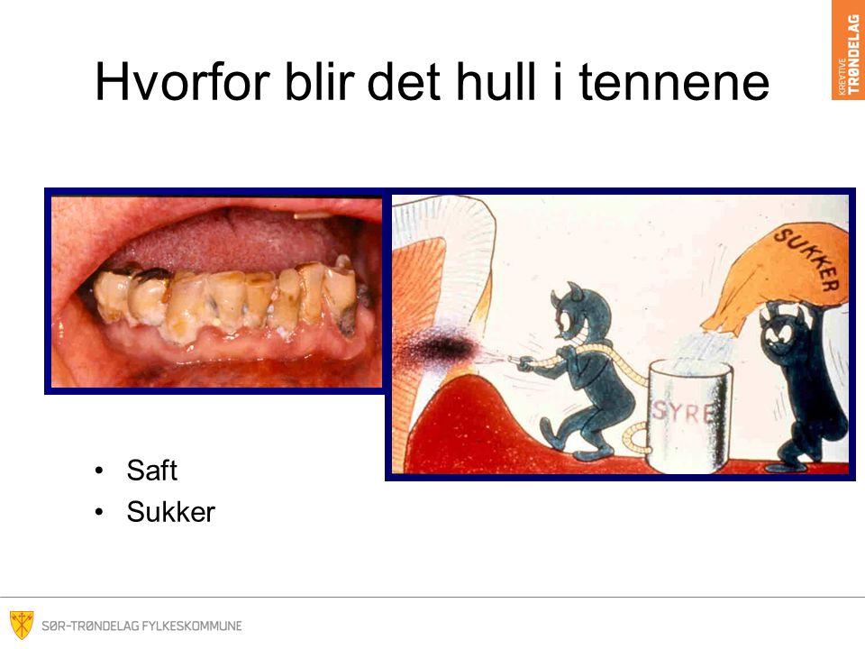 Hvorfor blir det hull i tennene Saft Sukker