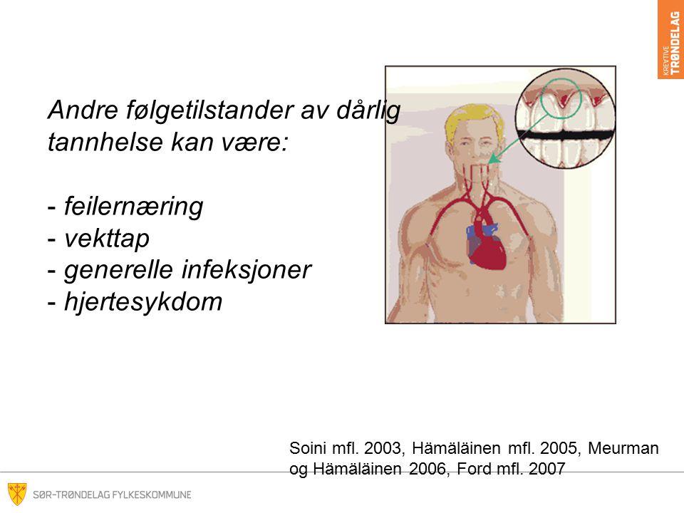 Andre følgetilstander av dårlig tannhelse kan være: - feilernæring - vekttap - generelle infeksjoner - hjertesykdom Soini mfl.