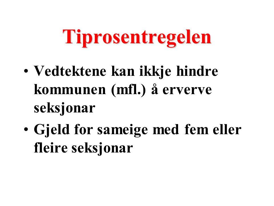 Tiprosentregelen Vedtektene kan ikkje hindre kommunen (mfl.) å erverve seksjonar Gjeld for sameige med fem eller fleire seksjonar