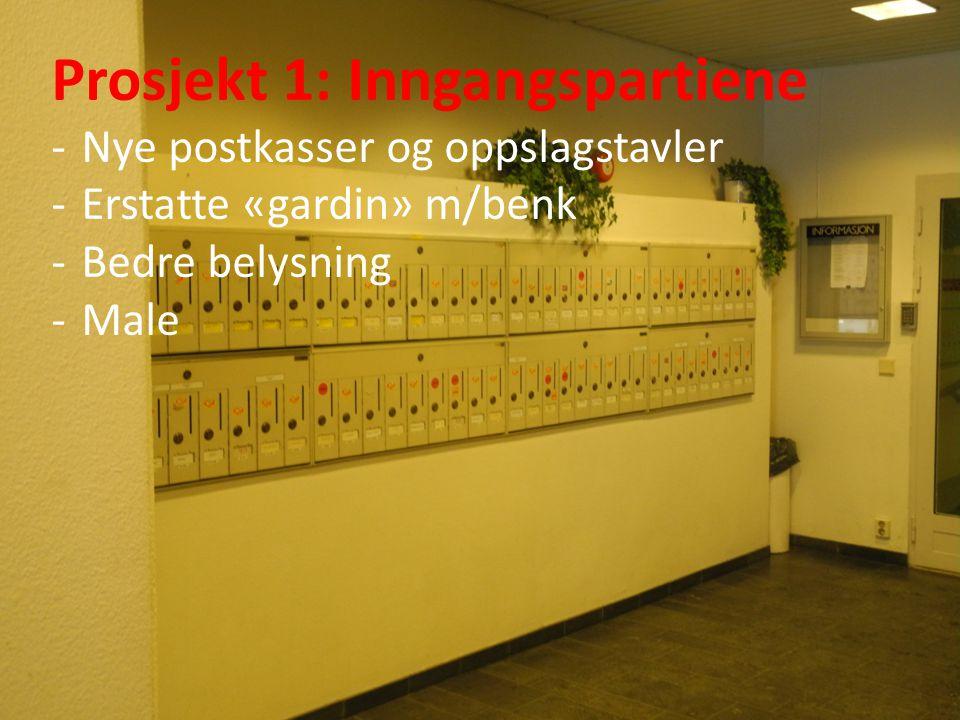Prosjekt 1: Inngangspartiene -Nye postkasser og oppslagstavler -Erstatte «gardin» m/benk -Bedre belysning -Male