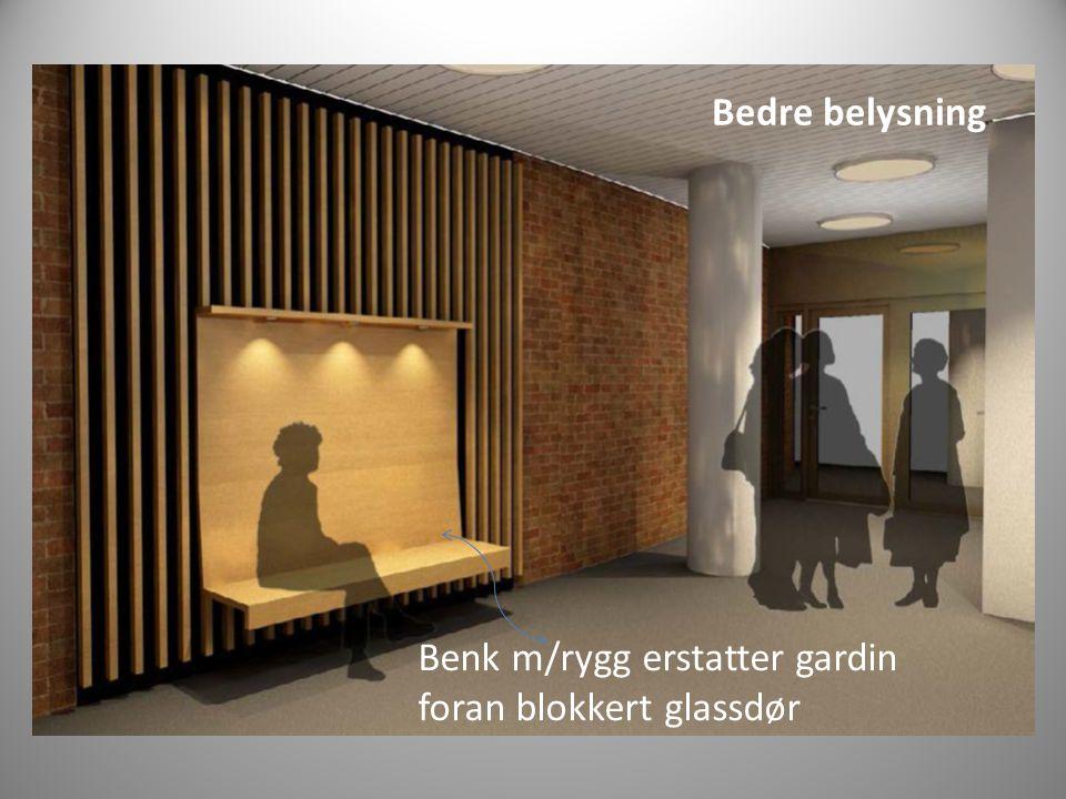 Benk m/rygg erstatter gardin foran blokkert glassdør Bedre belysning