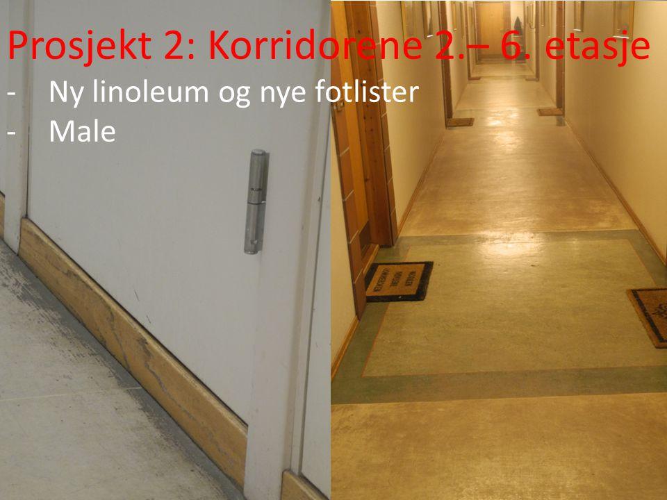Prosjekt 2: Korridorene 2.– 6. etasje -Ny linoleum og nye fotlister -Male