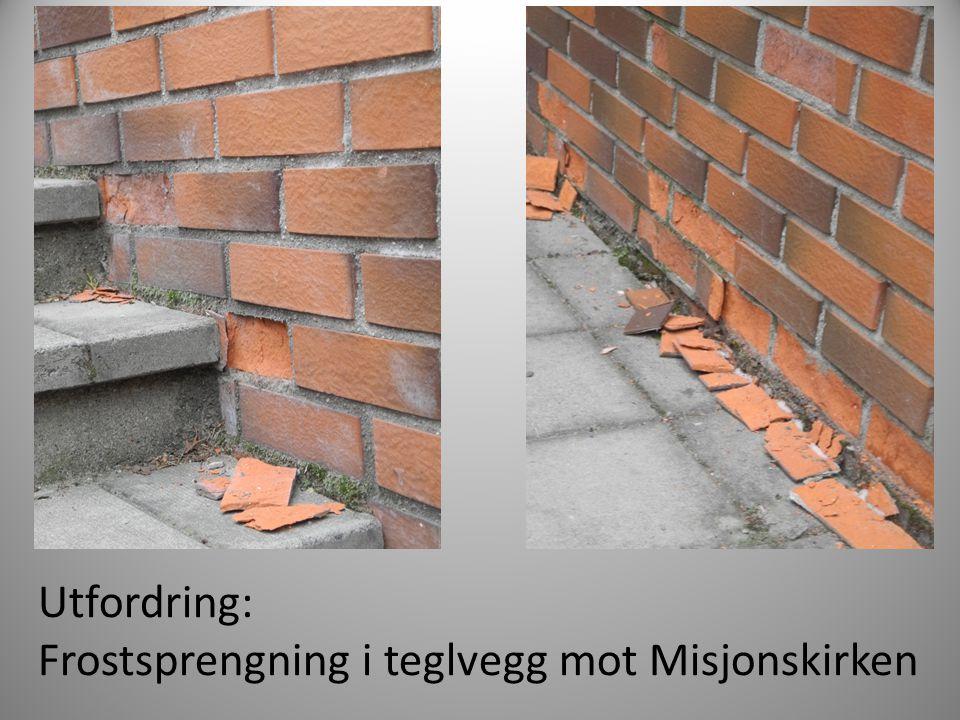 Utfordring: Frostsprengning i teglvegg mot Misjonskirken