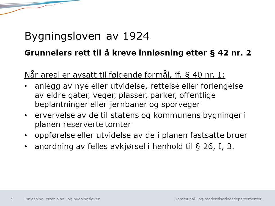 Kommunal- og moderniseringsdepartementet Norsk mal: Tekst uten kulepunkt Bygningsloven av 1924 Grunneiers rett til å kreve innløsning etter § 42 nr. 2