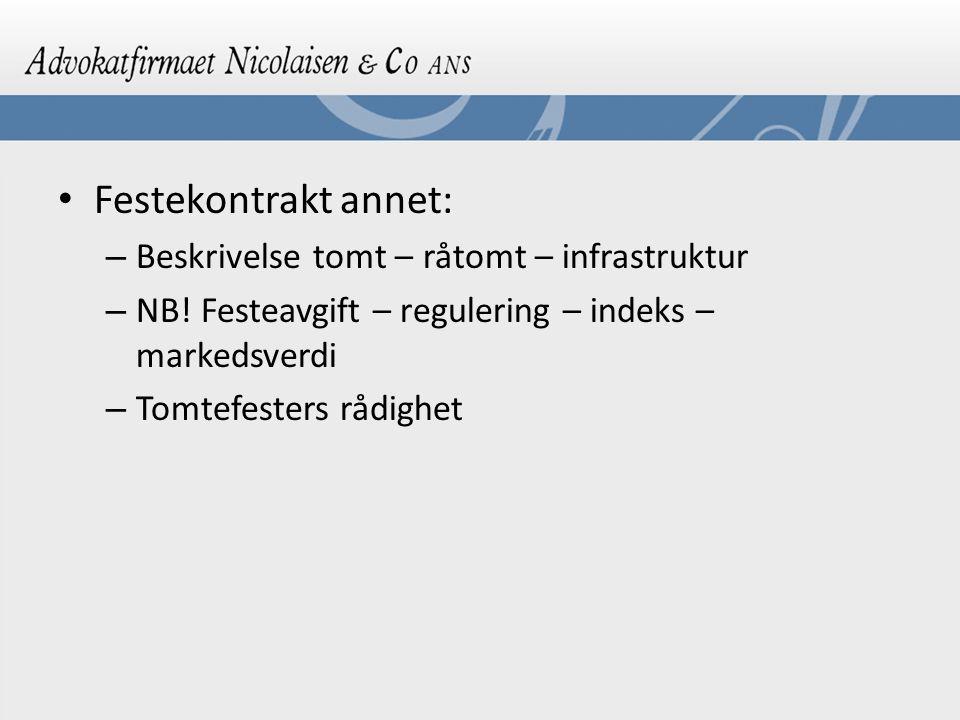 Festekontrakt annet: – Beskrivelse tomt – råtomt – infrastruktur – NB! Festeavgift – regulering – indeks – markedsverdi – Tomtefesters rådighet