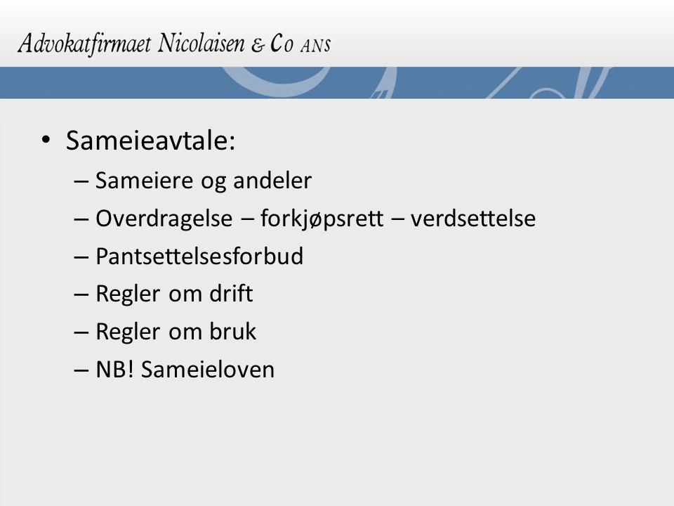Sameieavtale: – Sameiere og andeler – Overdragelse – forkjøpsrett – verdsettelse – Pantsettelsesforbud – Regler om drift – Regler om bruk – NB! Sameie