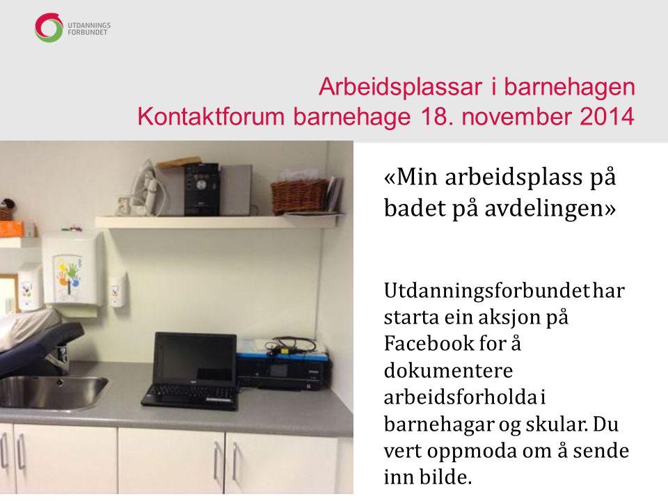 Arbeidsplassar i barnehagen Kontaktforum barnehage 18. november 2014 «Min arbeidsplass på badet på avdelingen» Utdanningsforbundet har starta ein aksj