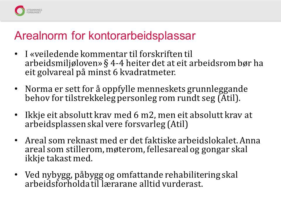 Arealnorm for kontorarbeidsplassar I «veiledende kommentar til forskriften til arbeidsmiljøloven» § 4-4 heiter det at eit arbeidsrom bør ha eit golvar