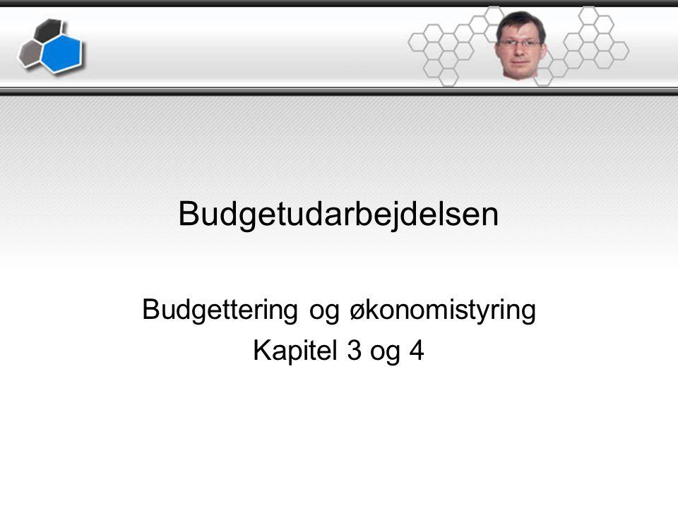 Budgetudarbejdelsen Budgettering og økonomistyring Kapitel 3 og 4