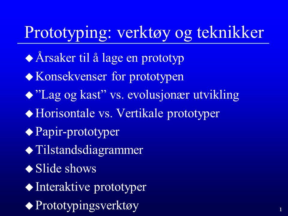 1 Prototyping: verktøy og teknikker u Årsaker til å lage en prototyp u Konsekvenser for prototypen u Lag og kast vs.