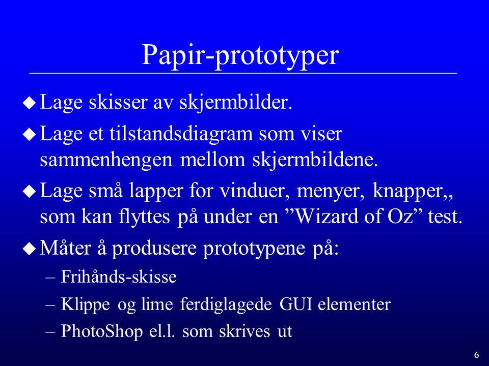 6 Papir-prototyper u Lage skisser av skjermbilder.