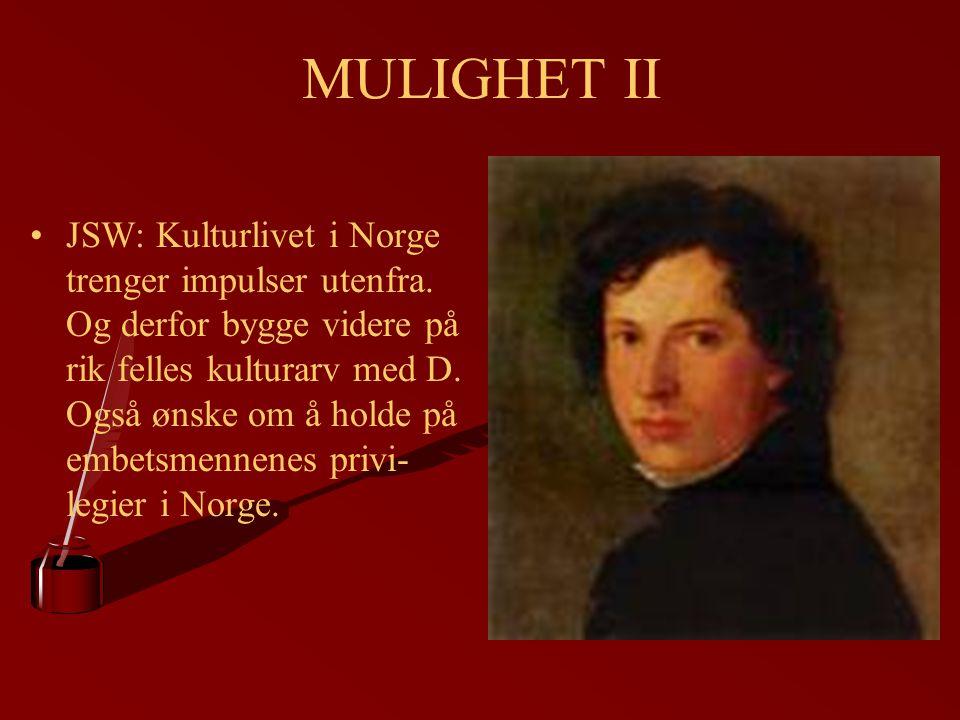 MULIGHET II JSW: Kulturlivet i Norge trenger impulser utenfra. Og derfor bygge videre på rik felles kulturarv med D. Også ønske om å holde på embetsme