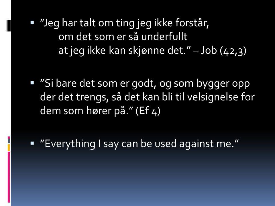  Jeg har talt om ting jeg ikke forstår, om det som er så underfullt at jeg ikke kan skjønne det. – Job (42,3)  Si bare det som er godt, og som bygger opp der det trengs, så det kan bli til velsignelse for dem som hører på. (Ef 4)  Everything I say can be used against me.