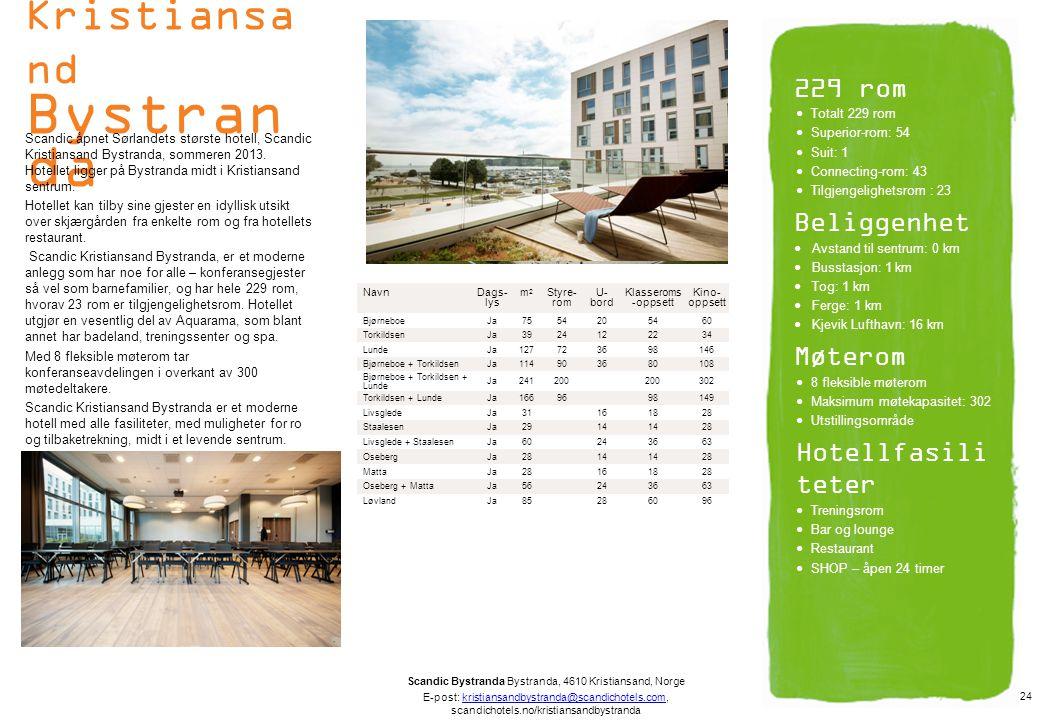 Scandic Kristiansa nd Bystran da Scandic åpnet Sørlandets største hotell, Scandic Kristiansand Bystranda, sommeren 2013. Hotellet ligger på Bystranda