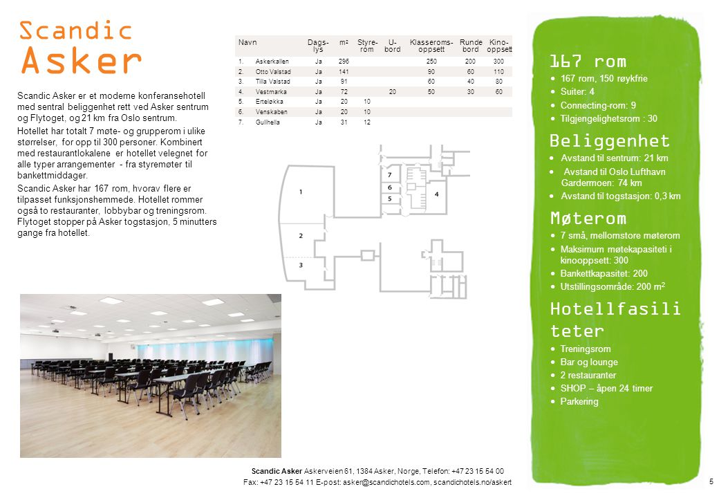 Scandic Asker Scandic Asker er et moderne konferansehotell med sentral beliggenhet rett ved Asker sentrum og Flytoget, og 21 km fra Oslo sentrum. Hote