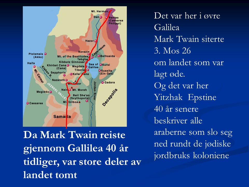 Da Mark Twain reiste gjennom Gallilea 40 år tidliger, var store deler av landet tomt Det var her i øvre Galilea Mark Twain siterte 3. Mos 26 om landet