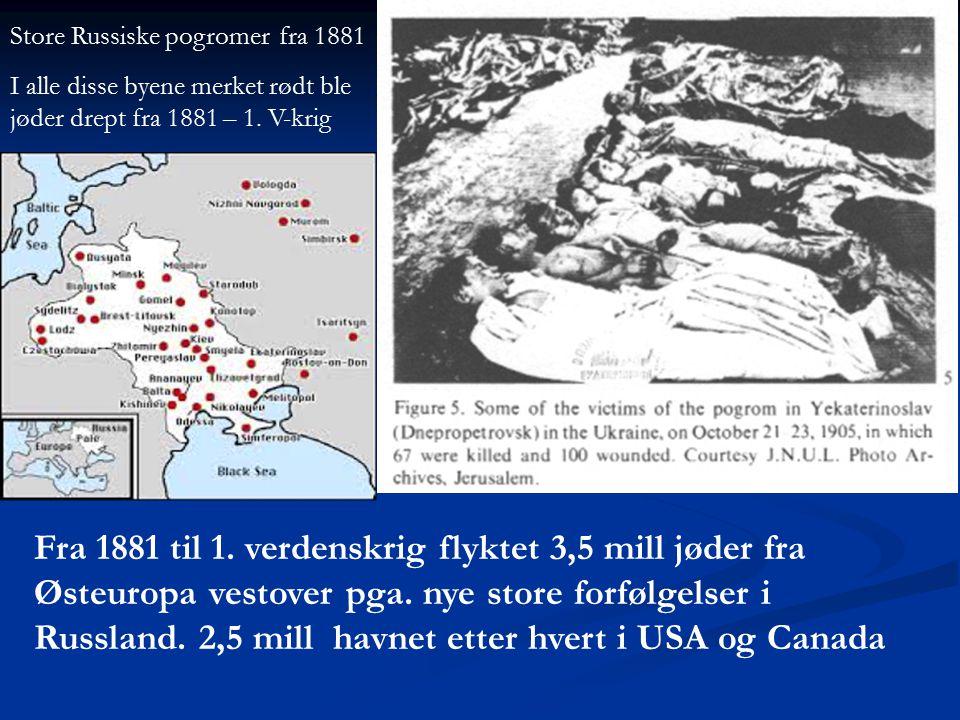 Fra 1881 til 1. verdenskrig flyktet 3,5 mill jøder fra Østeuropa vestover pga. nye store forfølgelser i Russland. 2,5 mill havnet etter hvert i USA og
