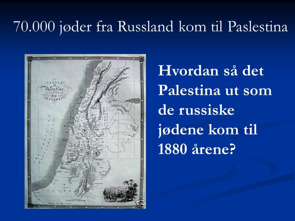 Hvordan så det Palestina ut som de russiske jødene kom til 1880 årene? 70.000 jøder fra Russland kom til Paslestina