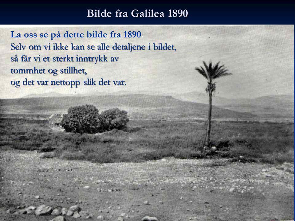 Bilde fra Galilea 1890 La oss se på dette bilde fra 1890. Selv om vi ikke kan se alle detaljene i bildet, så får vi et sterkt inntrykk av tommhet og s