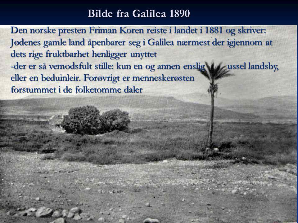 Den norske presten Friman Koren reiste i landet i 1881 og skriver: Jødenes gamle land åpenbarer seg i Galilea nærmest der igjennom at dets rige fruktb
