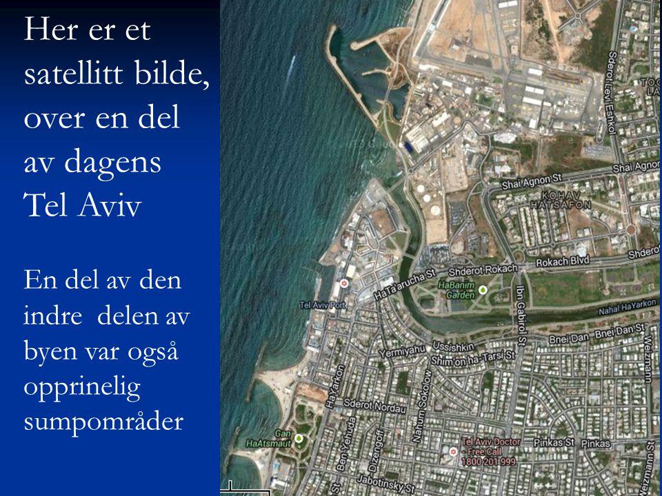 Her er et satellitt bilde, over en del av dagens Tel Aviv En del av den indre delen av byen var også opprinelig sumpområder