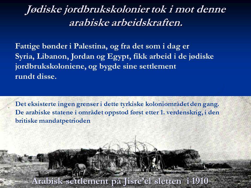 Jødiske jordbrukskolonier tok i mot denne arabiske arbeidskraften. Fattige bønder i Palestina, og fra det som i dag er Syria, Libanon, Jordan og Egypt