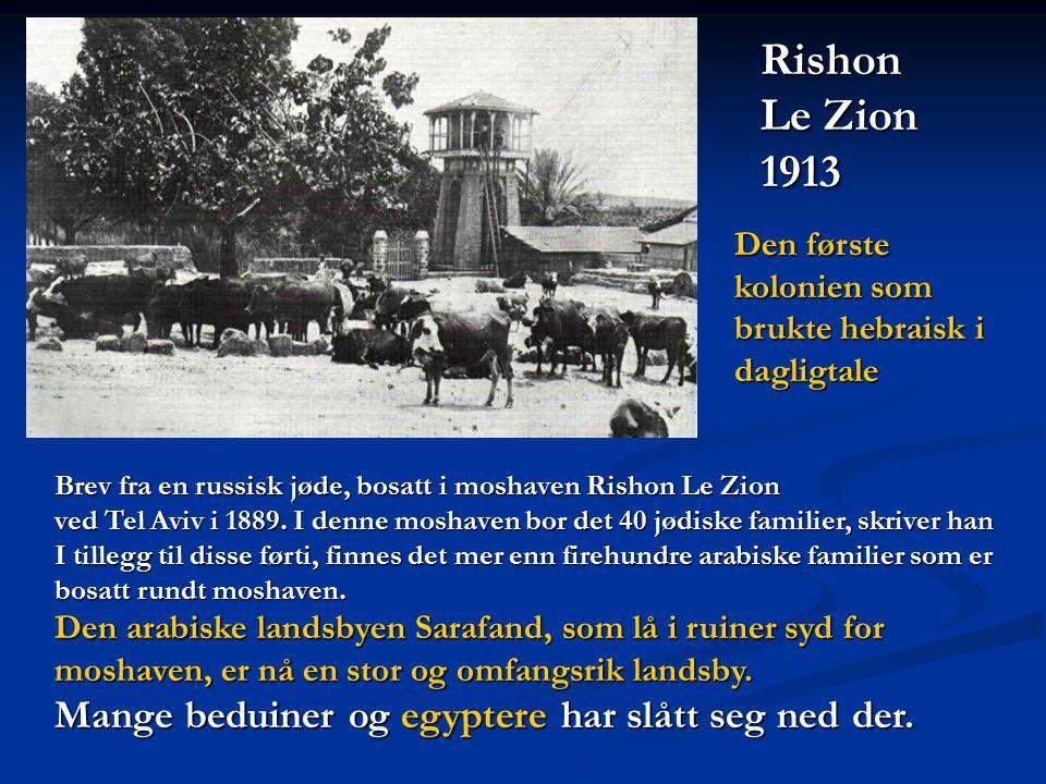 Brev fra en russisk jøde, bosatt i moshaven Rishon Le Zion ved Tel Aviv i 1889. I denne moshaven bor det 40 jødiske familier, skriver han I tillegg ti