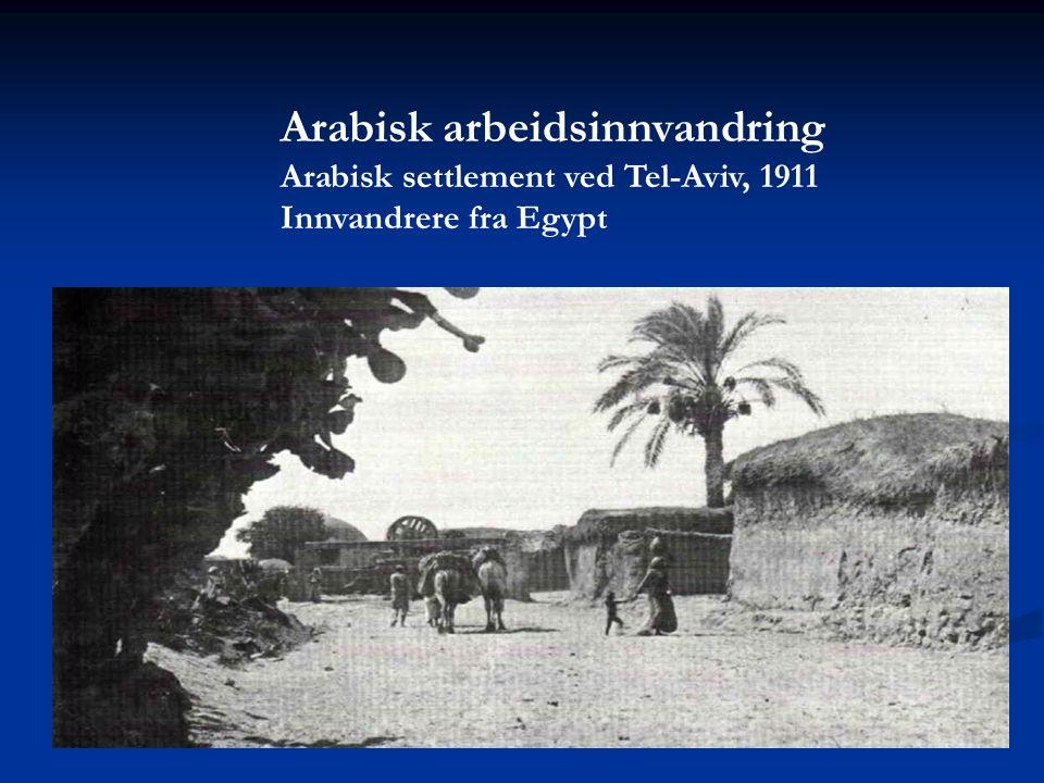 Arabisk arbeidsinnvandring Arabisk settlement ved Tel-Aviv, 1911 Innvandrere fra Egypt