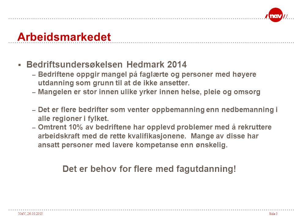 NAV, 26.03.2015Side 3 Arbeidsmarkedet  Bedriftsundersøkelsen Hedmark 2014 – Bedriftene oppgir mangel på faglærte og personer med høyere utdanning som grunn til at de ikke ansetter.