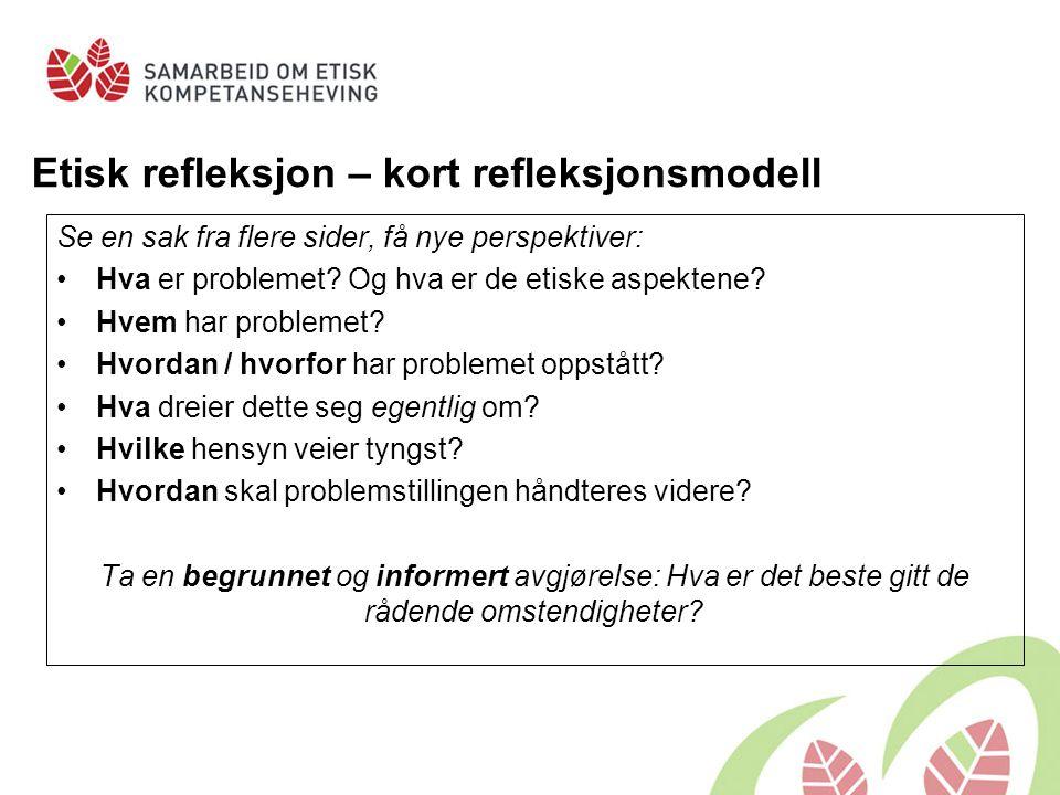 Etisk refleksjon – kort refleksjonsmodell Se en sak fra flere sider, få nye perspektiver: Hva er problemet? Og hva er de etiske aspektene? Hvem har pr