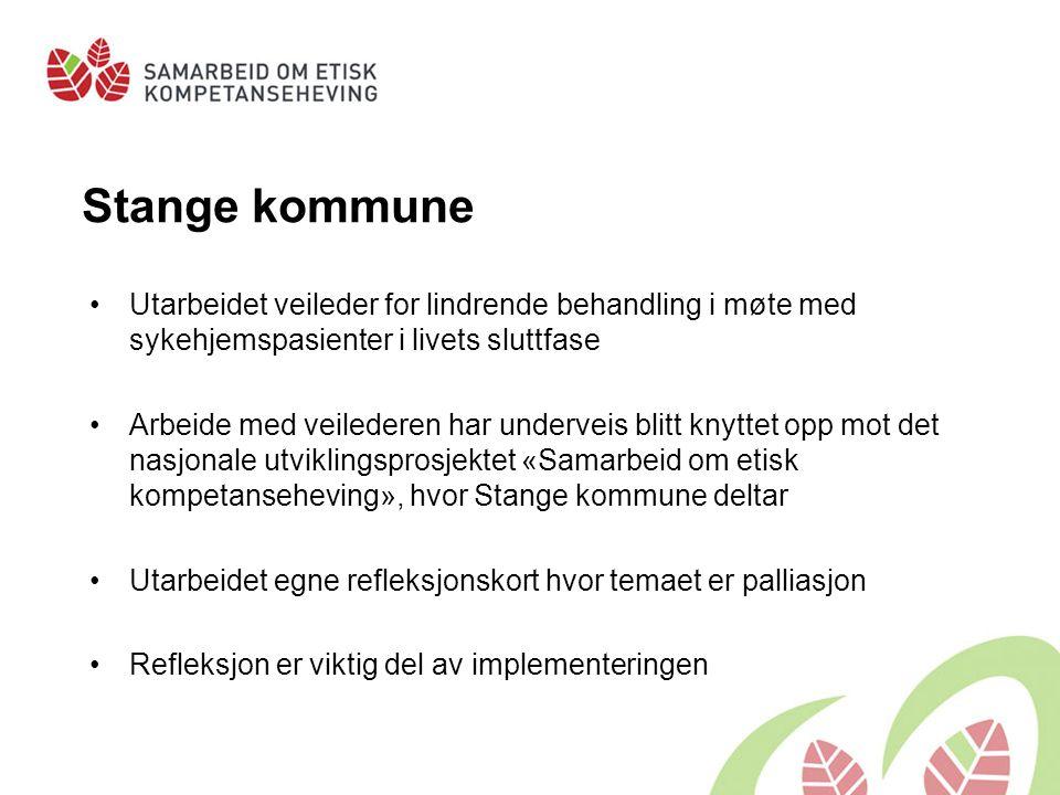 Stange kommune Utarbeidet veileder for lindrende behandling i møte med sykehjemspasienter i livets sluttfase Arbeide med veilederen har underveis blit