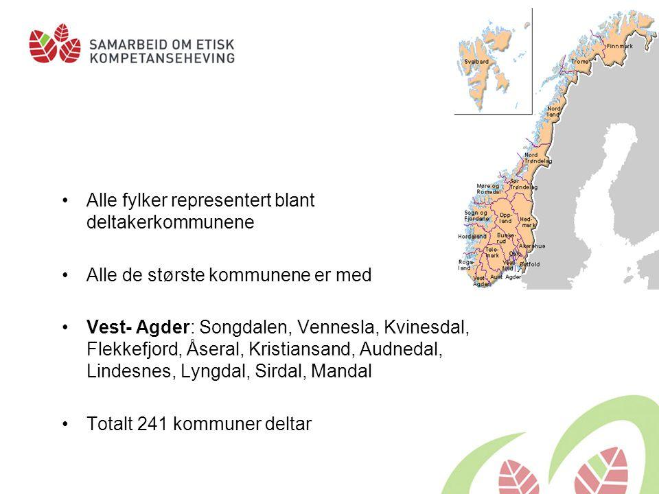 Alle fylker representert blant deltakerkommunene Alle de største kommunene er med Vest- Agder: Songdalen, Vennesla, Kvinesdal, Flekkefjord, Åseral, Kr