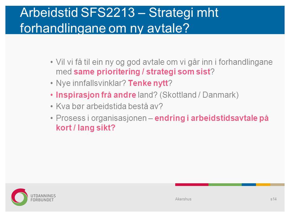 Arbeidstid SFS2213 – Strategi mht forhandlingane om ny avtale.