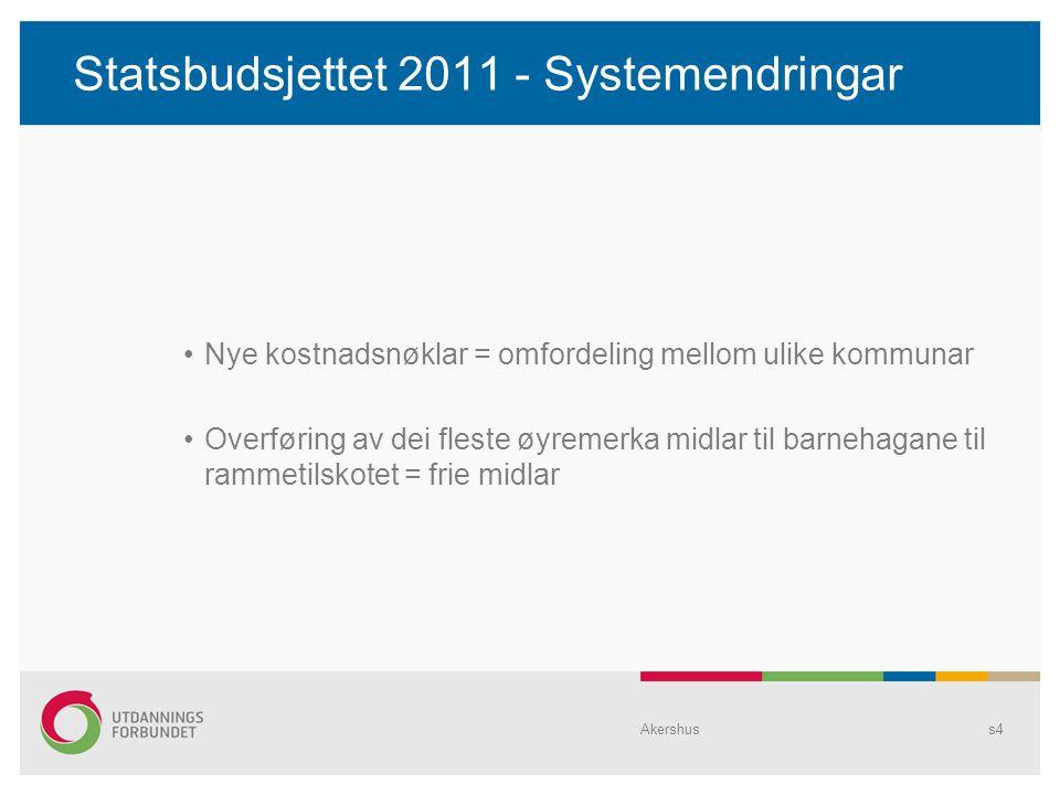 Statsbudsjettet 2011 - Systemendringar Nye kostnadsnøklar = omfordeling mellom ulike kommunar Overføring av dei fleste øyremerka midlar til barnehagane til rammetilskotet = frie midlar Akershuss4
