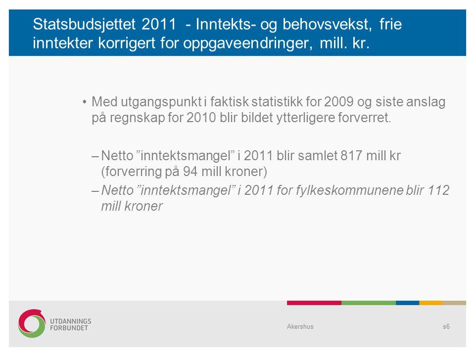 Statsbudsjettet 2011 - Inntekts- og behovsvekst, frie inntekter korrigert for oppgaveendringer, mill.