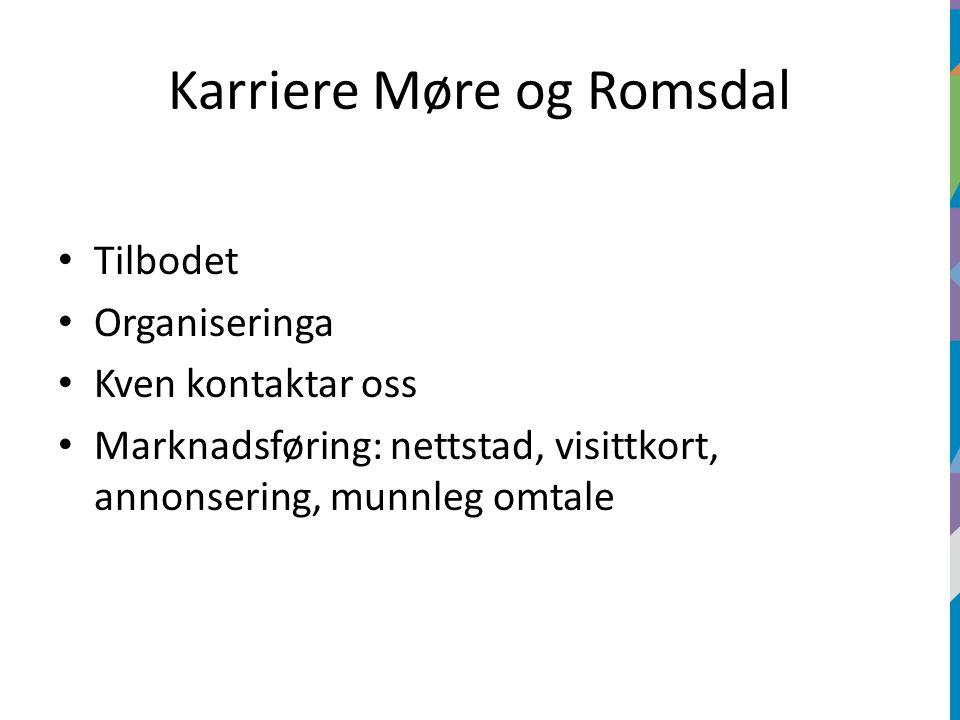 Karriere Møre og Romsdal Tilbodet Organiseringa Kven kontaktar oss Marknadsføring: nettstad, visittkort, annonsering, munnleg omtale