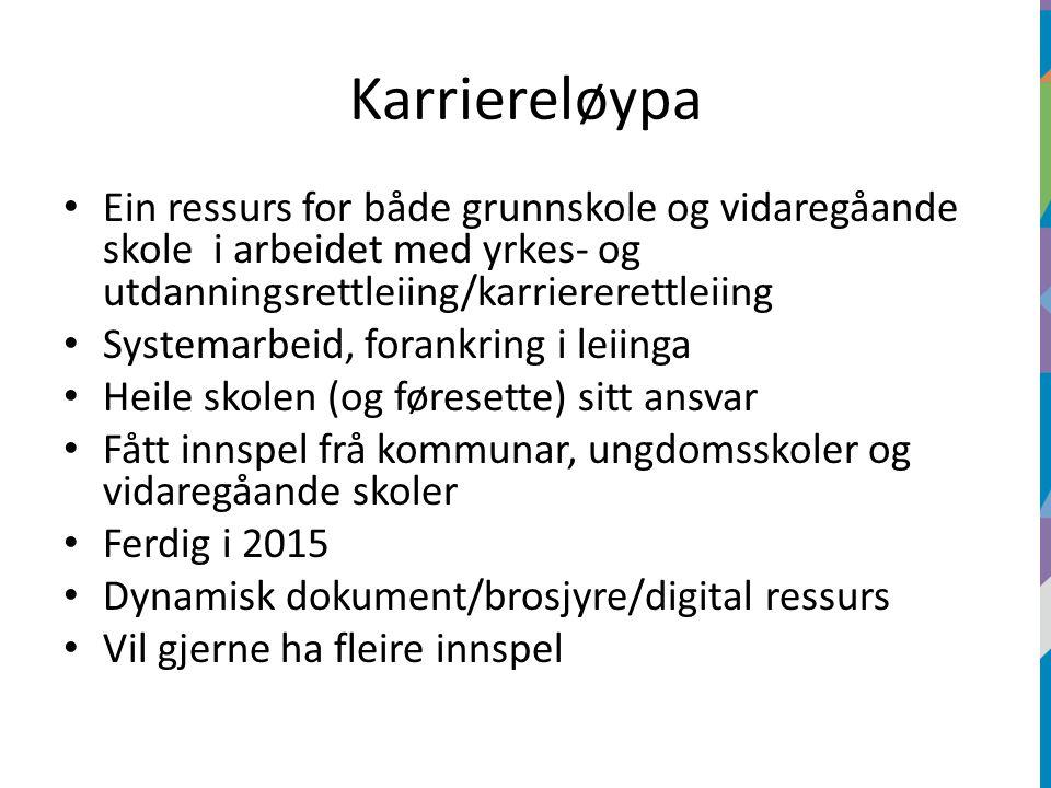 Karriereløypa Ein ressurs for både grunnskole og vidaregåande skole i arbeidet med yrkes- og utdanningsrettleiing/karriererettleiing Systemarbeid, for