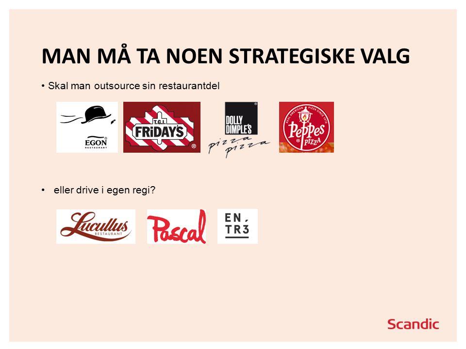 MAN MÅ TA NOEN STRATEGISKE VALG Skal man outsource sin restaurantdel eller drive i egen regi?